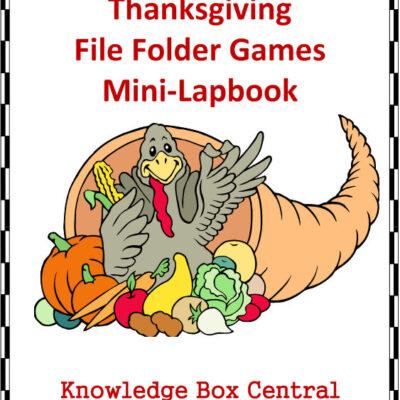 Educational Freebie: Thanksgiving File Folder Games Lapbook