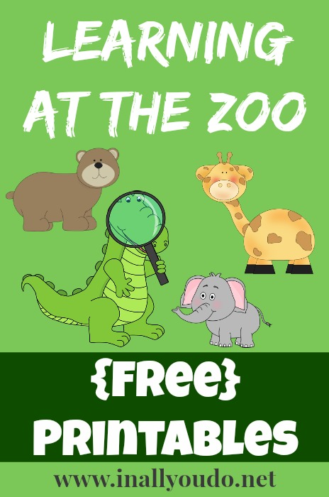 Learning at the Zoo FREE Printables