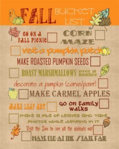 generic fall bucket list