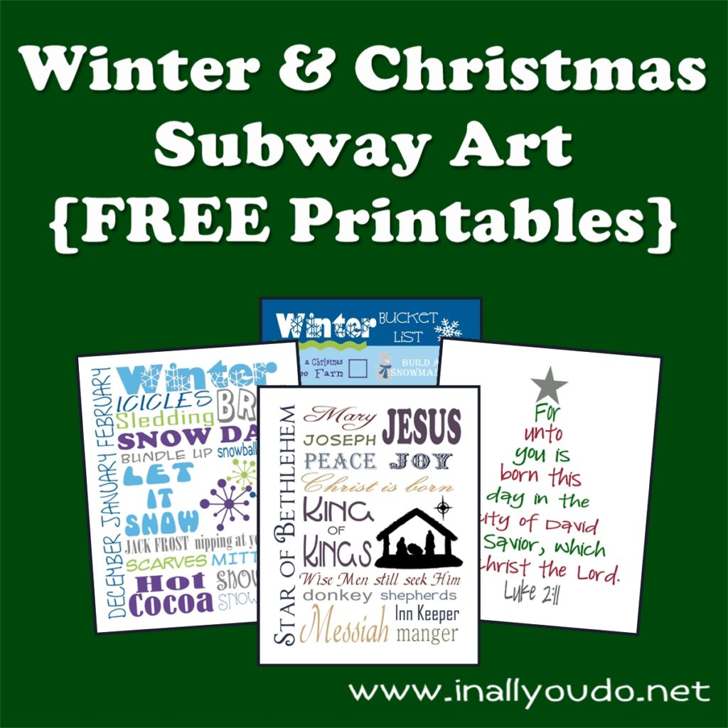 Here is my collection of Winter and Christmas Subway Art. There are 11 different Subway Art printables PLUS a Christmas Light Scavenger Hunt List!!