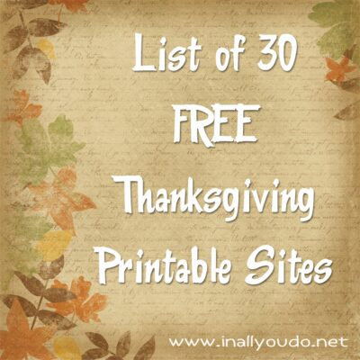 DIY Thanksgiving: A List of FREE Printables