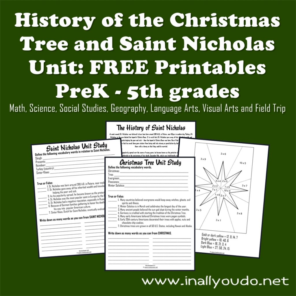Whether or not you celebrate with Santa Claus, kids will love this FUN Unit Study about the History of Christmas Tree & Saint Nicholas. {PreK-5th grades} :: www.inallyoudo.net