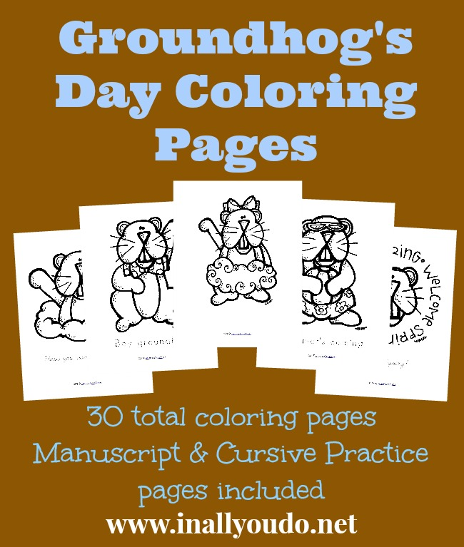 These adorable Groundhog's Day Coloring Pages are the perfect addition to your February 2nd day or Groundhog's Day Unit Study. :: www.inallyoudo.net