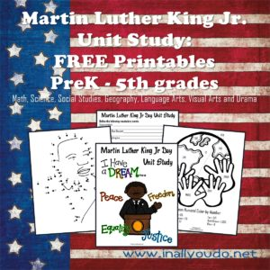 This Martin Luther King Jr. Unit Study incorporates 7 different subjects into this unit - Math, Science, Social Studies, Geography, Language Arts, Visual Arts and Drama. :: www.inallyoudo.net