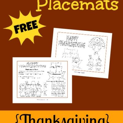 FREE Thanksgiving Activity Placemats