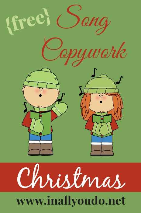 Christmas is just around the corner! And who doesn't love Christmas music? Grab these FREE Christmas Song Copywork pages. :: www.inallyoudo.net