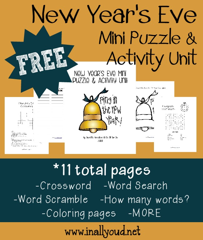 New Year's Eve can be so much fun to celebrate, especially as a kid! Grab this fun and {free} Mini Puzzle Unit for kids to get in a little extra learning too!! :: www.inallyoudo.net