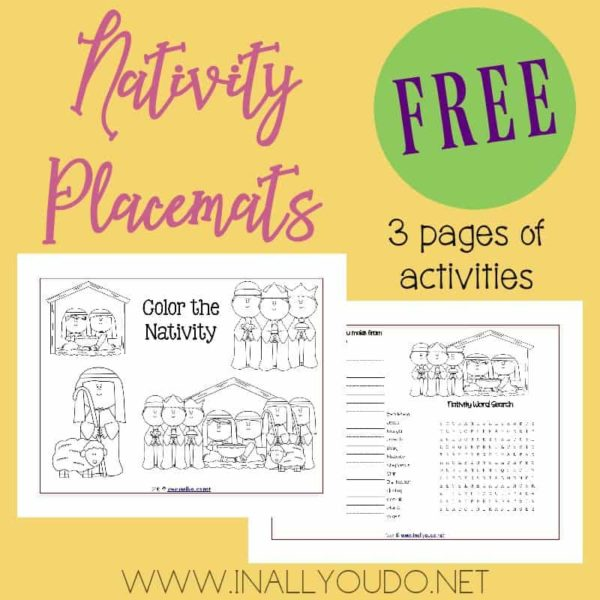These Nativity Activity Placemats are the perfect addition to any unit study or lunch during the month of December. The placemats include 3 pages of coloring, puzzles & more! :: www.inallyoudo.net