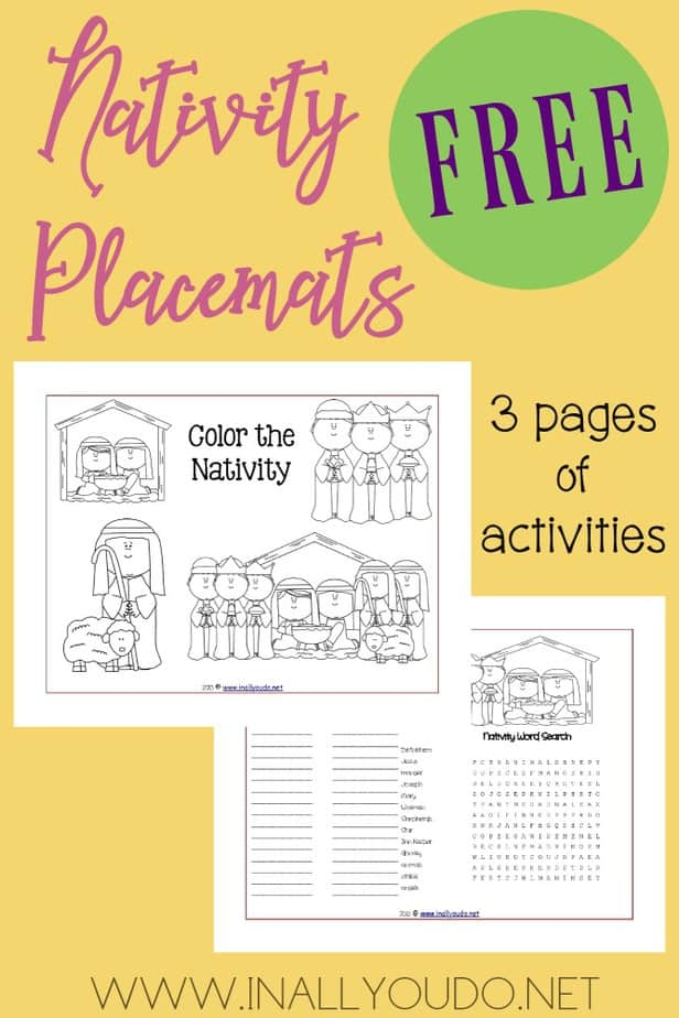 These Nativity Activity Placemats are the perfect addition to any unit study or lunch during the month of December.The placemats include 3 pages of coloring, puzzles & more! :: www.inallyoudo.net