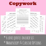 Valentine's Day Copywork ~ Manuscript & Cursive