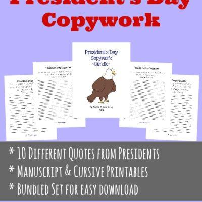 President's Day Copywork