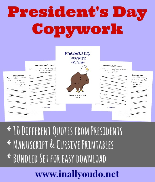 Presidents Day Copywork Freebies