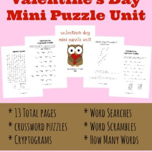 This Valentine's Day Mini Puzzle Unit would be a fun addition to your holiday studies! This pack includes 13 pages of themed crossword puzzles, word scrambles, word searches, cryptograms and How Many Words Can You Make? activities. :: www.inallyoudo.net