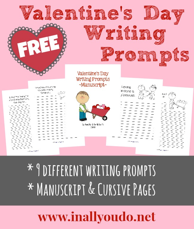 These Valentine's Day themed Writing Prompts are a great way to help kids express their love for someone, to practice their creative writing or just for fun! Included in this set are 9 different writing prompts with both dashed lines and plain lines. :: www.inallyoudo.net