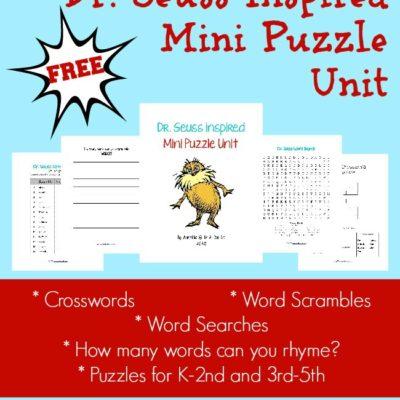 Dr. Seuss Inspired Mini Puzzle Unit