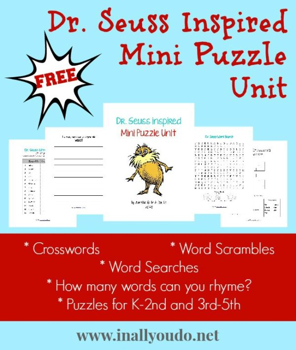 Sample pages of Seuss inspired mini puzzle unit