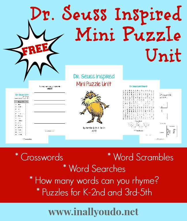 FREE Dr Seuss Mini Puzzle Unit