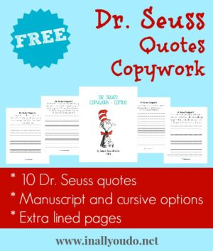 Dr Seuss Quotes Copywork
