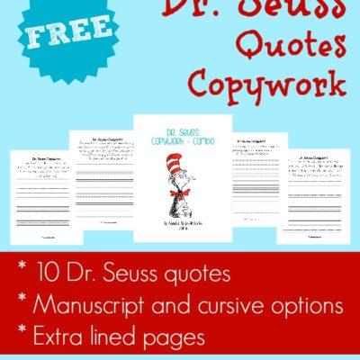 Dr. Seuss Quotes Copywork