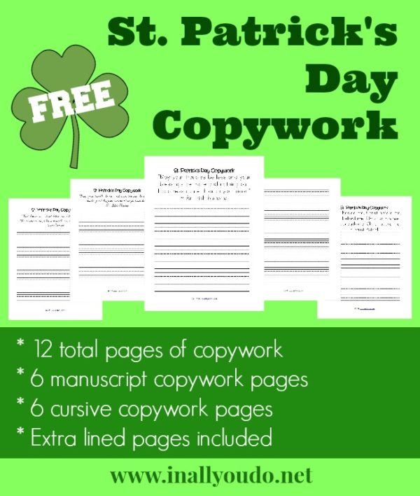 sample pages fanned out of St. Patrick's Day themed Copywork in both manuscript and cursive