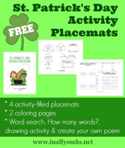 sample pages for St. Patrick's Day themed Activity Placemats