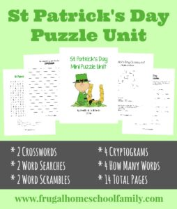 sample pages of St. Patrick's Day themed Mini Puzzle Unit