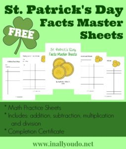 sample pages of the St. Patrick's Day themed Math Grid worksheets