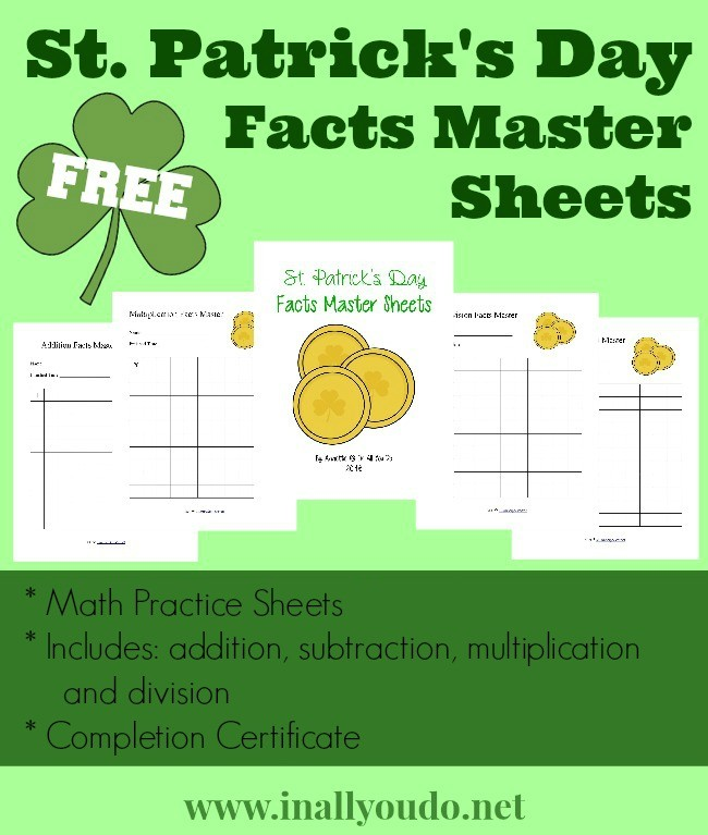 Have some fun practicing Math Facts with these St. Patrick's Day themed pages. :: www.inallyoudo.net