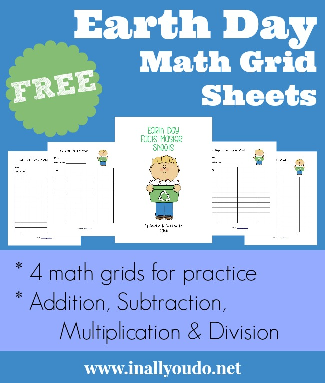 FREE Earth Day Math Grid Practice Sheets