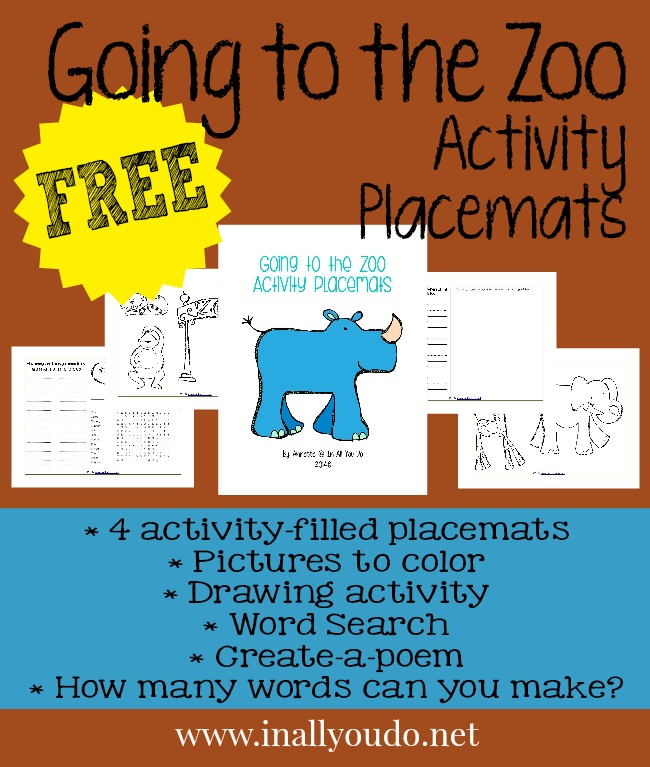 FREE Going on to the Zoo Activity Placemats