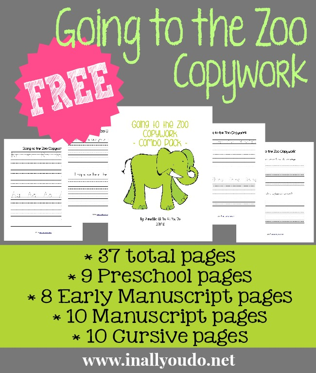 FREE Going to the Zoo Copywork Printables
