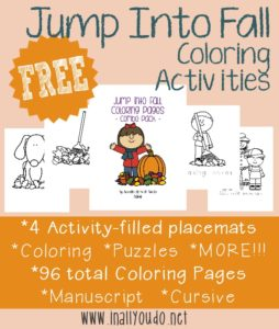 Coloring is a wonderful activity to improve fine motor skills. It is also a great way to keep kids occupied on those crisp, cool, windy fall days! These activity placemats are perfect for fall lunches and the coloring pages are sure to keep your kids occupied for hours! :: www.inallyoudo.net