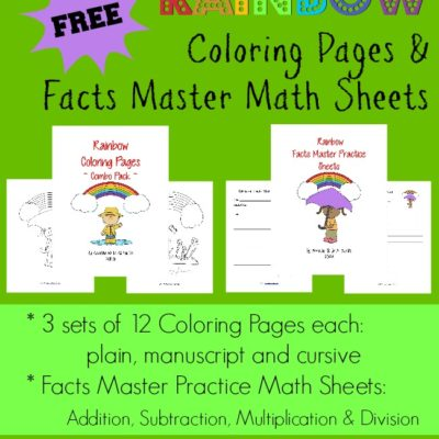 {free} Rainbow Coloring Pages & Math Facts Sheets