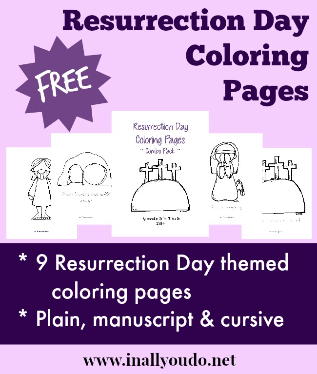 One great way to talk about, introduce or learn more about the Resurrection is through coloring pages. This set is available in plain (for younger children) and traceable words in both manuscript & cursive. :: www.inallyoudo.net