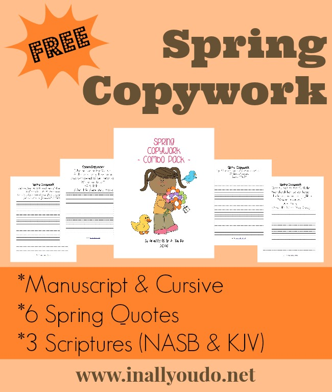 This FREE Spring Copywork is a FUN way to bring in some Bible and Handwriting as the weather is changing!! :: www.inallyoudo.net