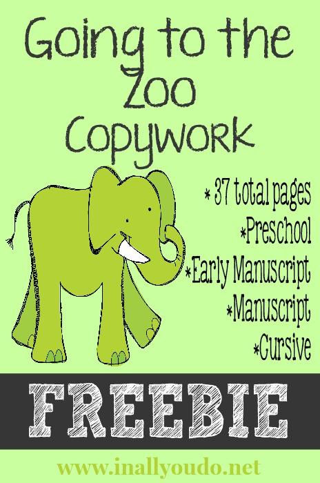 Going to the Zoo Copywork Printables FREEBIE