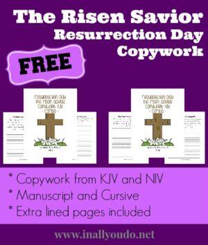 The Risen Savior ~ Resurrection Day Copywork