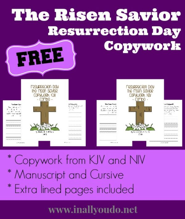In an effort to keep our kids focused on the cross and resurrection during the Easter season, I have created some copywork for them. This Resurrection Day copywork is taken directly from Scripture and covers His resurrection and a few conversations He had after. :: www.inallyoudo.net