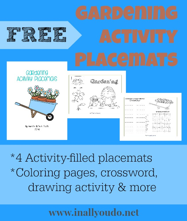 FREE Gardening Activity Placemats