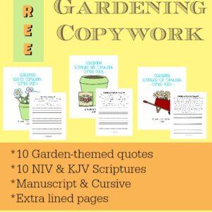 Gardening Copywork