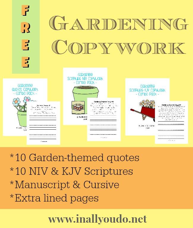 FREE Gardening Copywork