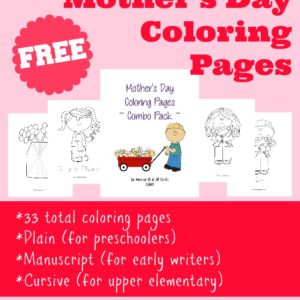 Help your kids celebrate Mother's Day with these coloring pages. There are 3 different handwriting styles for a total of 33 pages. :: www.inallyoudo.net