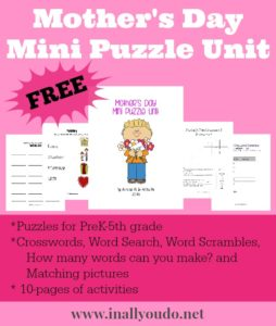 FREE Mother's Day Mini Puzzle Unit