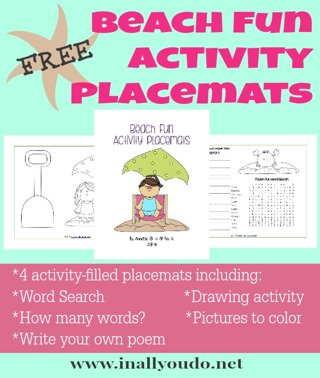 FREE Beach Fun Activity Placemats