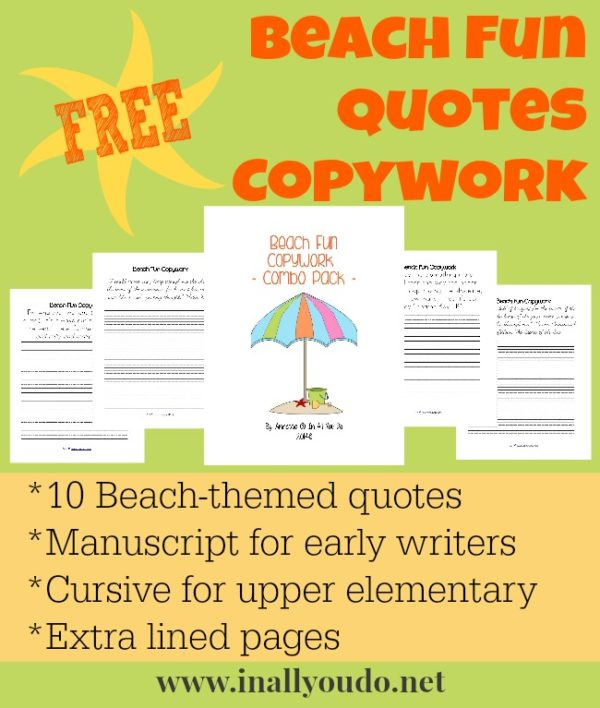 Learning about the Beach can be FUN with these printable quotes copywork pages!! :: www.inallyoudo.net