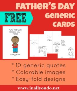 These Father's Day cards are sure to be a big hit this year! Simply print, color and deliver! Includes 10 generic cards with fun quotes to celebrate Dad on his special day! *Please note this is a digital download.  No physical copies will be sent. :: www.inallyoudo.net