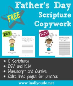 This Father's Day Scripture Copywork includes both Manuscript and Cursive options as well as extra lined pages for additional practice. This set includes 10 Scriptures pertaining to Fathers. *Please note this is a digital download. :: www.inallyoudo.net