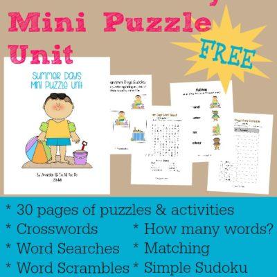 Summer Days Mini Puzzle Unit {free printables}