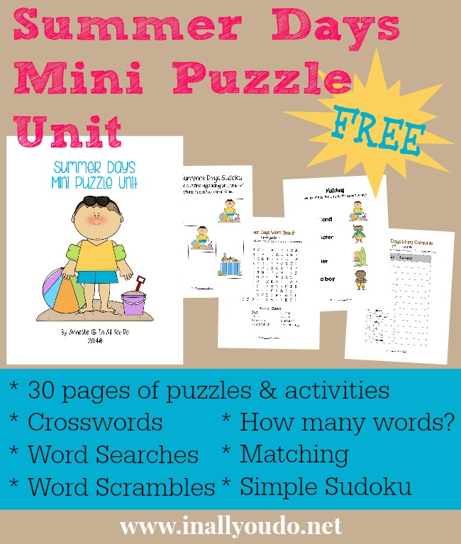 FREE Summer Days Mini Puzzle Unit