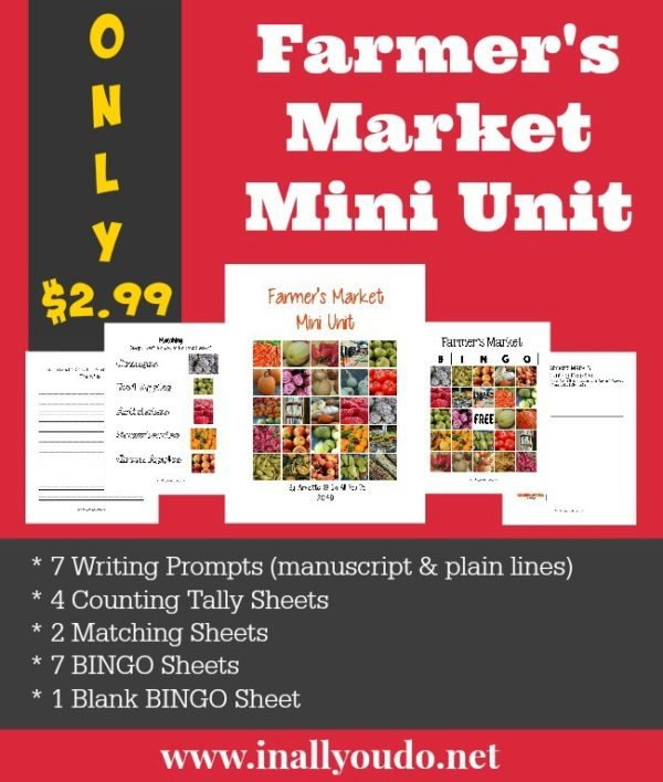 Learning at the Farmer's Market can be fun and educational!! These printables help you do both! :: www.inallyoudo.net